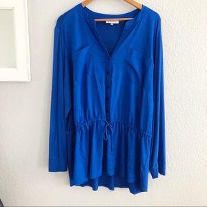 Calvin Klein Blue Button Front Tunic Top